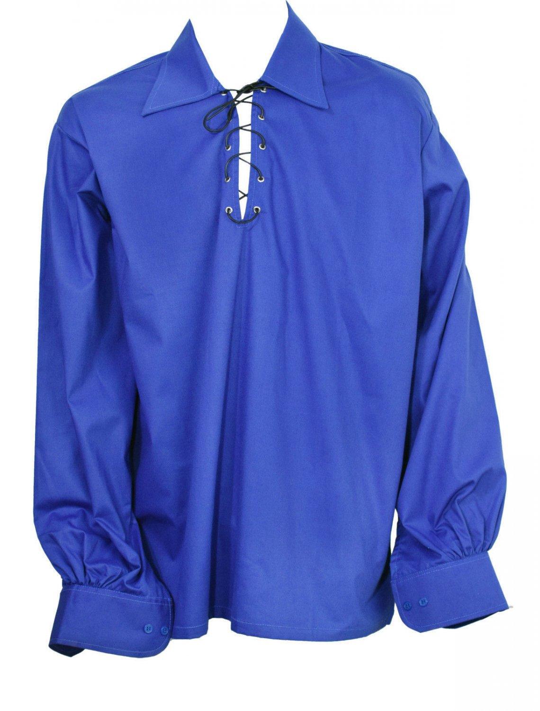 Men Royal Blue Scottish Highland Jacobean Jacobite Shirt, Gillie Kilt Shirt Size L