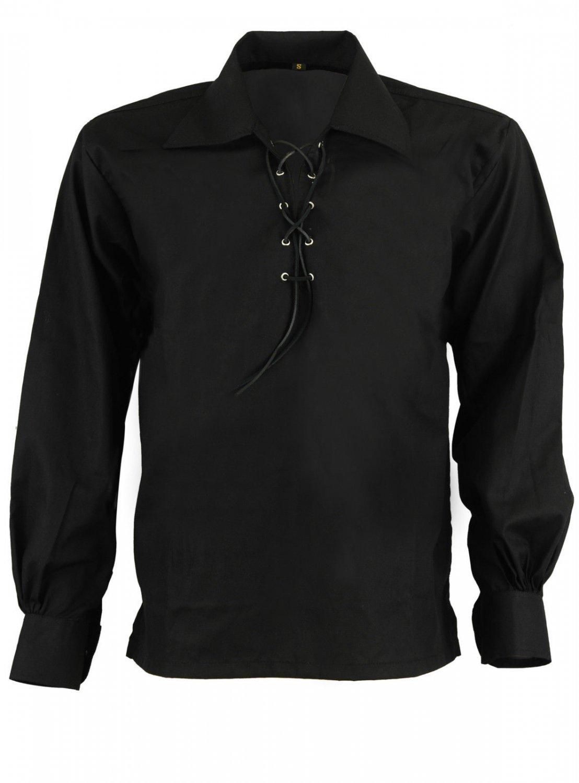 Men Black Scottish Highland Jacobean Jacobite Shirt, Gillie Kilt Shirt Size S