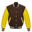 New DC Letterman Baseball Brown wool Yellow leather  sleeves varsity jacket size S