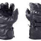 Black Motorbike Motto GP Leather  Racing Glove Protected Racing Glove Size L
