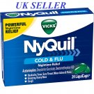 Vicks NyQuil Cough Cold and Flu Nighttime Relief, 24 LiquiCaps *UK SELLER*
