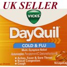 Vicks DayQuil Cough Cold and Flu daytime Relief, 16 LiquiCaps *UK SELLER*