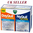 Vicks NyQuil and DayQuil SEVERE Cough Cold and Flu Relief, 48 Caplets *UK SELLER*