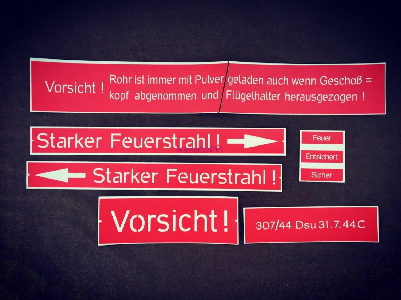 WW2 German  Set of stencils on the Panzerfaust 30 Klein