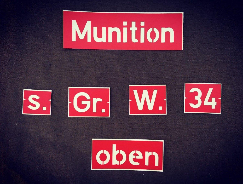 WW2 German  Set of stencils on a box 8 cm Gr.W.34.