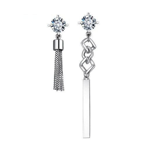 925 Sterling Silver Asymmetric Long Earrings for Women