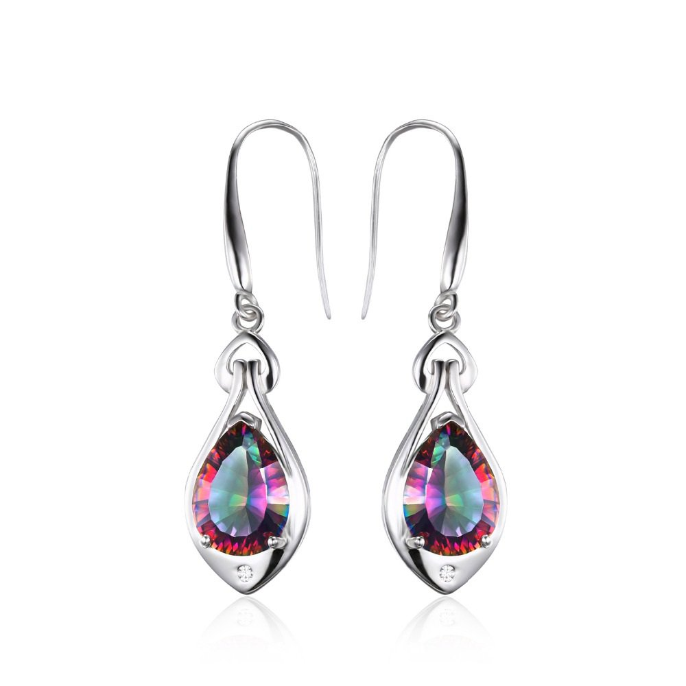 Water Drop 6.8ct Rainbow Fire Mystic Topaz Dangle Earrings Pure 925 Sterling Silver For Women
