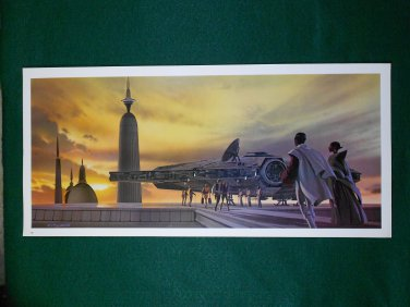 Vintage Star Wars 1980 ESB Ralph McQuarrie Folio Print 19 of 24 Falcon on Bespin