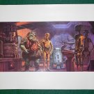 Vintage Star Wars Art 1982 ROTJ Ralph McQuarrie Print #5 C-3PO & R2-D2 Meets EV-9D9