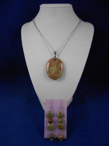 Fashion Jewelry, 20� Autumn Jasper Pendant & Earring Natural, Different, Unique