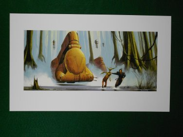Star Wars Phantom Menace 1999 Doug Chiang Portfolio Print #6 Jar Jar & Qui-Gon