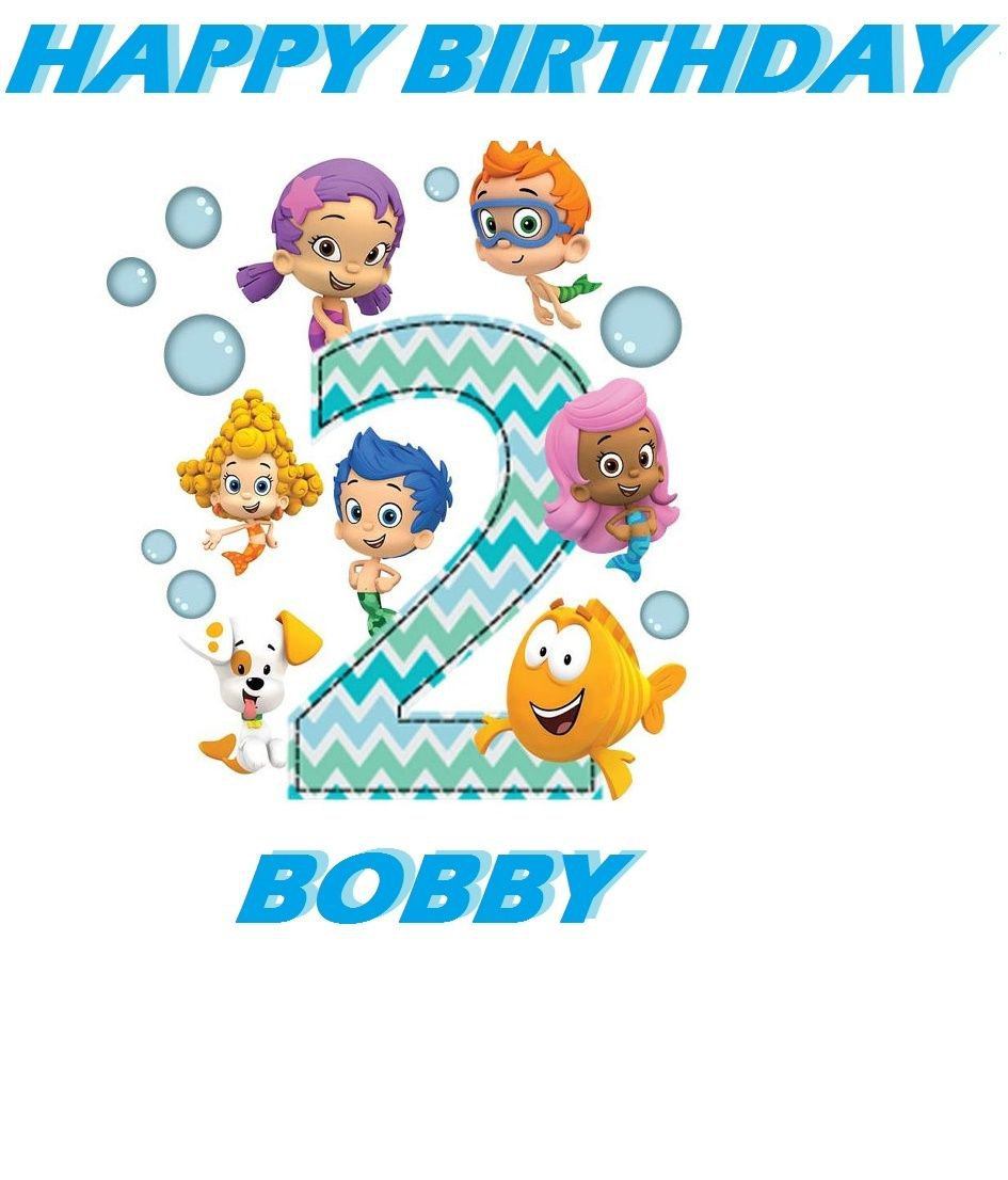 Bubble Guppies 2ND Birthday Edible Cake topper decoration