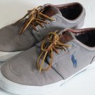 Polo by Ralph Lauren faxon low boat shoes gray canvas men size 10 D