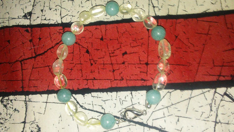 Chrysocolla and quartz bracelet