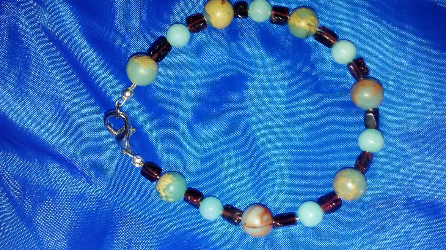 Moonstone and garnet with African blood stone bracelet