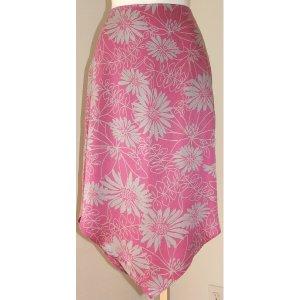 EXPRESS Pink Grey Floral Silk Skirt 5-6