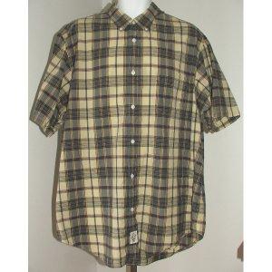 RALPH LAUREN Tan Blue Plaid Shirt XXL