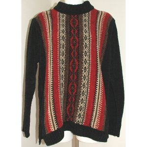 ERIKA Black Red Brown Sweater S