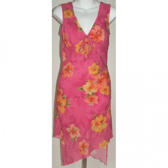 HANA Pink Floral Sleeveless Dress Small
