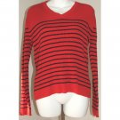 TOMMY HILFIGER Red Black Stripe Ribbed Sweater S