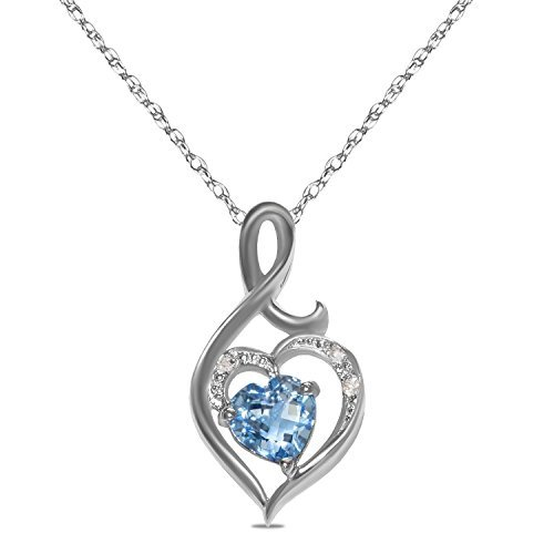 Diamond (.015cttw) & Blue Topaz Heart Pendant in 10k White Gold with 18-Inch Chain