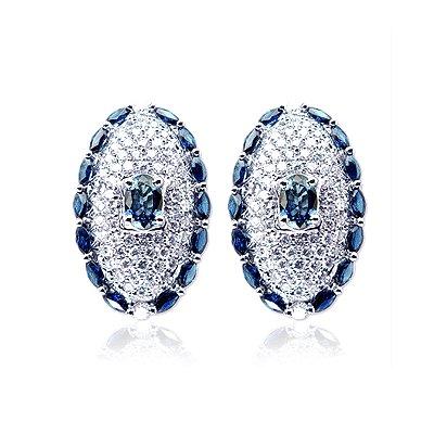 Diamond & Blue Sapphire 5.27 (ctw.) Earrings in 18k White Gold