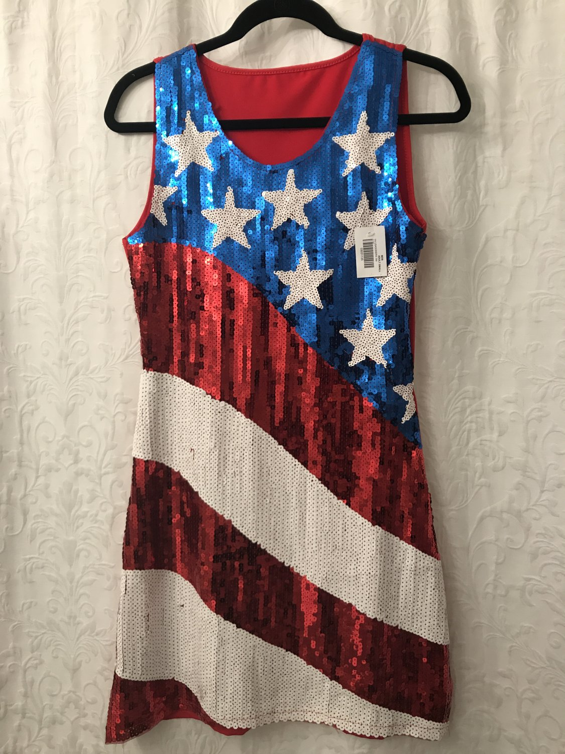 NEW Sequined Front Red Tank Dress - Sz S