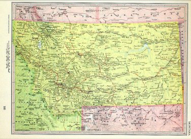Montana State Map, 13 x 9 Inches, Vintage 1962 Lithograph, Free US Shipping