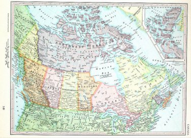 Canada Map, 13 x 9 Inches, Vintage 1962 Lithograph, Free US Shipping