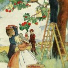 1937 Art Print, Children Picking Apples, Nostalgia, 5 x 7 Lithograph, Free US Shipping