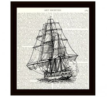 Nautical 8 x 10 Dictionary Art Print Vintage Ship Illustration 19th Century Frigate Home Decor