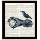 Dictionary Art Print 8 x 10 Steampunk Collage Victorian Hand Holding Clock Blue Bird