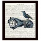 Dictionary Art Print 8 x 10 Steampunk Collage Victorian Hand Holding Clock Blue Bird