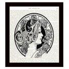 Art Deco Dictionary Art Print 8 x 10 Woman with Flowers Art Nouveau Home Decor