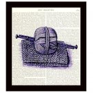 Knitting Dictionary Art Print 8 x 10 Purple Yarn Needles Victorian Crafts Decor
