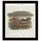 Dictionary Art Print 8 x 10 Alice in Wonderland Swimming Mouse Victorian Decor
