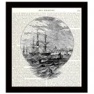 Nautical 8 x 10 Dictionary Art Print 18th Century Sailing Ship Home Decor