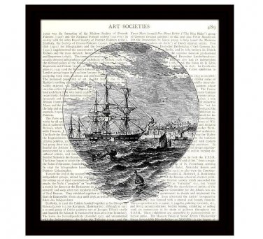 Nautical 8 x 10 Dictionary Art Print 18th Century Sailing Ship Home Decor