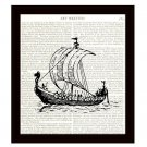Viking Ship 8 x 10 Dictionary Art Print Dragonship Vintage Nautical Home Decor