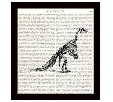 Dinosaur Dictionary Art Print Iguanodon Skeleton Natural History Archaeology