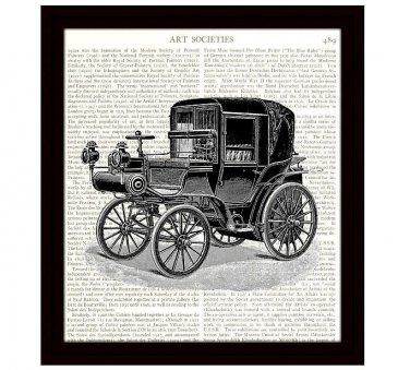 Dictionary Art Print 8 x 10 Victorian Horseless Carriage Vintage Car Home Decor
