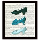 Blue Shoes Dictionary Art Print 8 x 10 Vintage Fashion Collage Decor Accessories