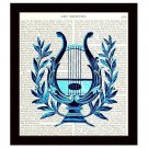 Dictionary Print Art Deco Harp 8 x 10 Vintage Lyre Musical Instrument Unframed