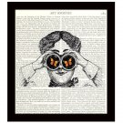 Dictionary Art Print 8 x 10 Woman With Binoculars Butterflies Fun Birthday Gift