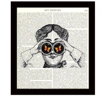 Dictionary Art Print 8 x 10 Woman With Binoculars Butterflies Fun Birthday Gift