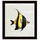 Fish Dictionary Art Print 8 x 10 Angelfish Nautical Home Decor Vintage Book Page