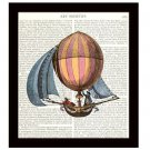 Dictionary Art Print 8 x 10 Steampunk 18th Century Hot Air Balloon With Sails