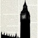 London Dictionary Art Print 8 x 10 Big Ben Parliament United Kingdom Home Decor