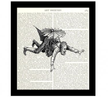 Dictionary Art Print 8 x 10 Steampunk 19th Century Victorian Flying Machine