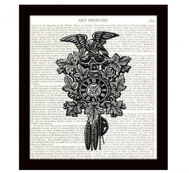 Dictionary Art Print 8 x 10 Victorian Cuckoo Clock with Eagle Vintage Home Decor